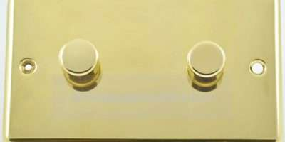 Polished Brass Gang Way Dimmer Switch Twin Plate