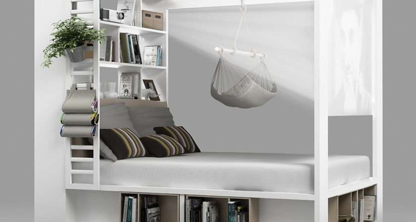 Poster Double Bed Storage Shelves White