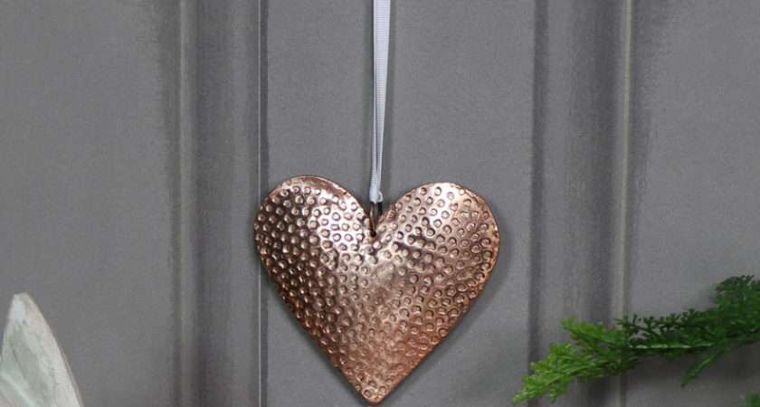 Pretty Copper Hanging Heart Decoration Melody Maison