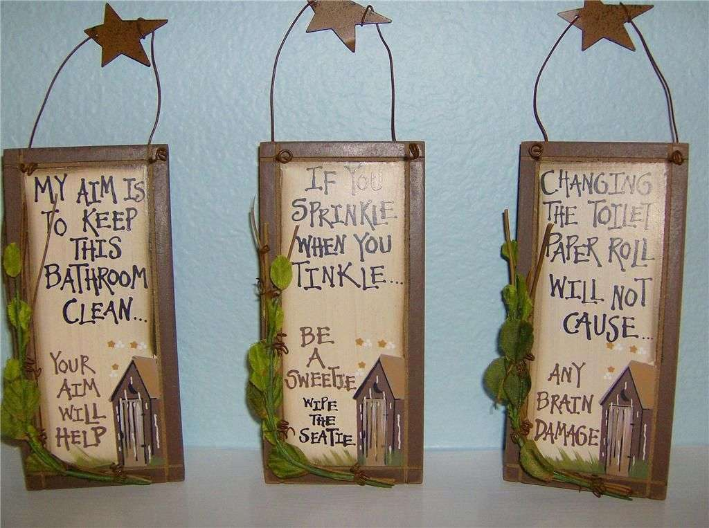 Primitive Outhouse Country Bathroom Home Decor Funny Signs Set