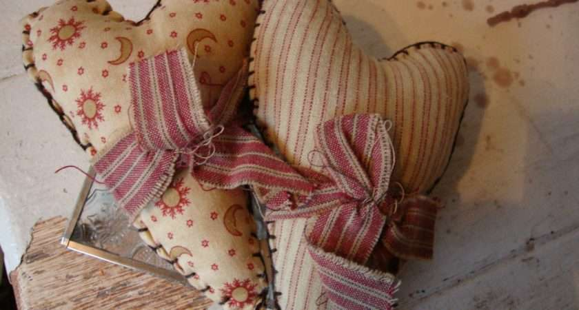 Primitive Shabby Farmhouse Chic Mini Fabric Heart Pillows Bowl