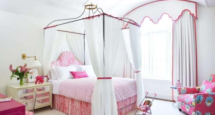 Princess Canopy Bed Transitional Girl Room Anne