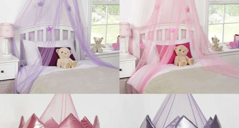 Princess Crown Bed Canopy Kids Childrens Girls Insect