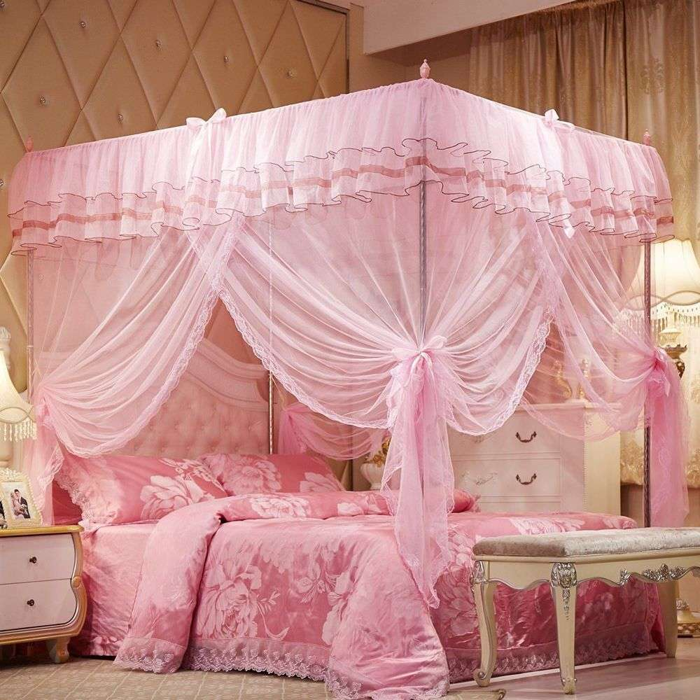 Princess Lace Bed Canopy Mosquito Poster Ruffles Pink