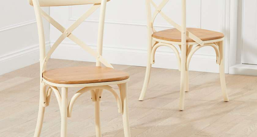 Product Marseille Shabby Chic Oak Cream Dining Chairs