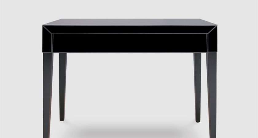 Pure Black Glass Painted Legs Console Table