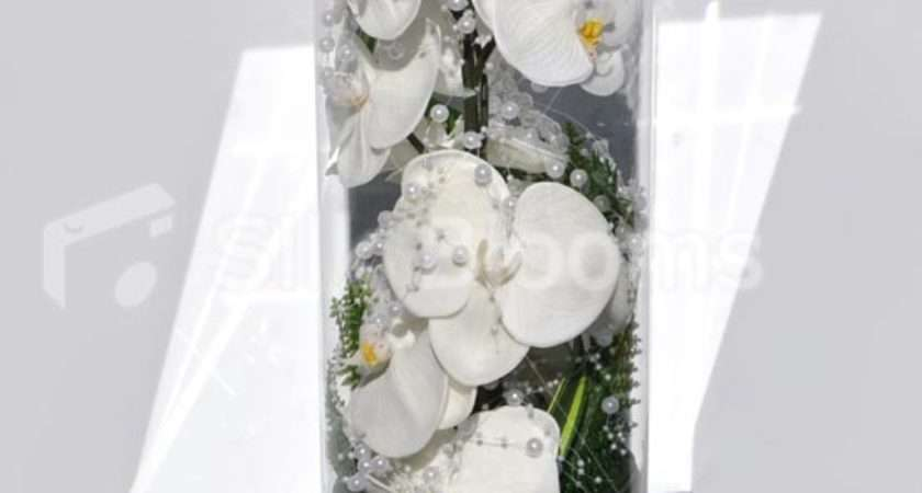 Pure White Fresh Touch Orchid Artificial Floral Vase