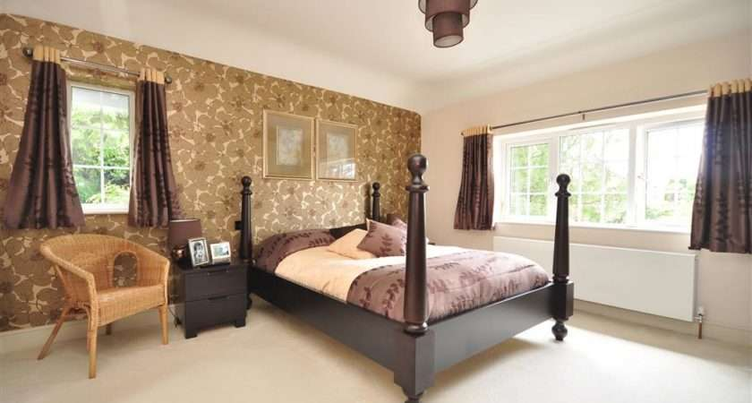 Purple Bedroom Modern Aubergine Four Poster Bed Feature Wall