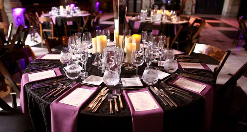 Purple Black Wedding Table