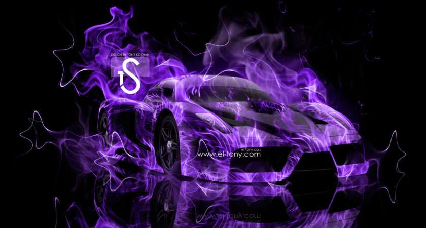 Purple Fire Ferrari Enzo Abstract Car