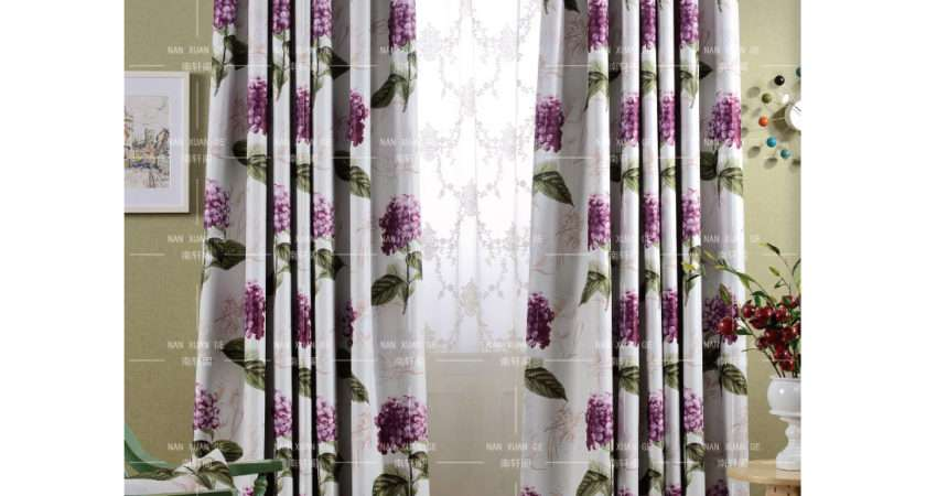 Purple Floral Print Polyester Long Shabby Chic Bedroom
