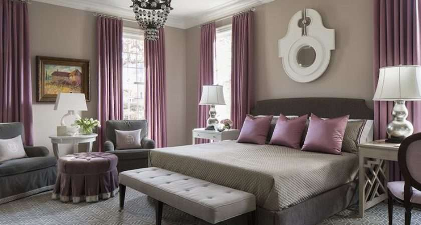 Purple Gray Bedroom Mismatched Nighstands