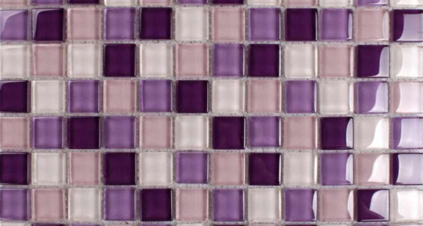 Purple Mosaic Tiles Crystal Glass Tile Bathroom Floor