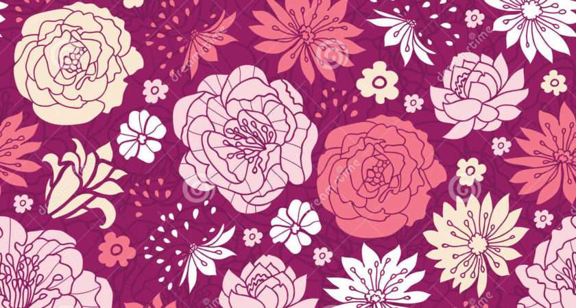 Purple Pink Flower Silhouettes Seamless Pattern