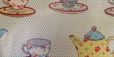 Pvc Tablecloth Fabric Tea Time Blue Wide Post