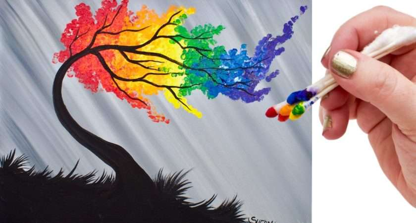 Rainbow Willow Tree Tip Acrylic Painting Beginners