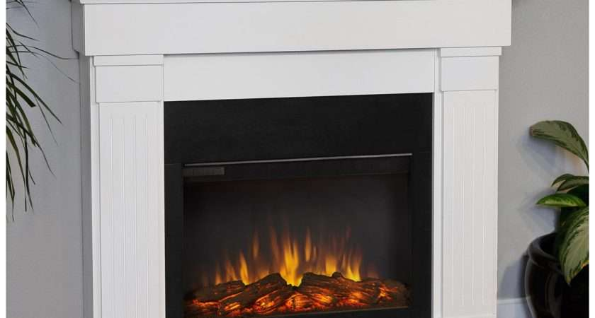 Real Flame Slim Line Crawford White Electric Fireplace