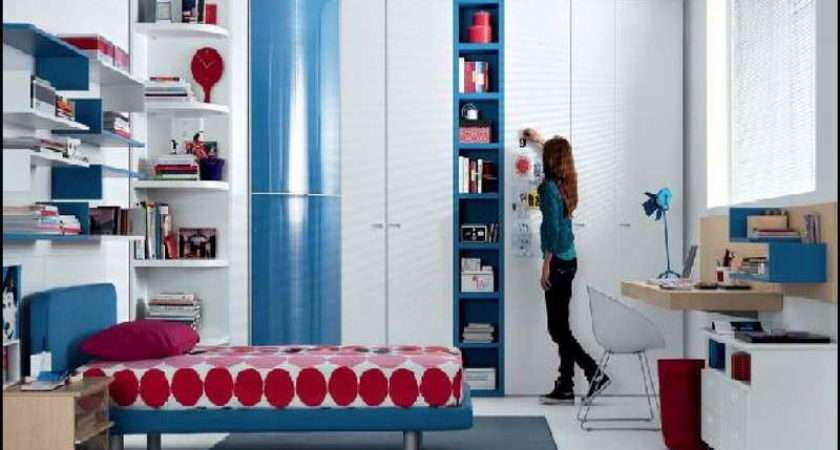 Red Blue Bedroom Ideas White Bench Furniture