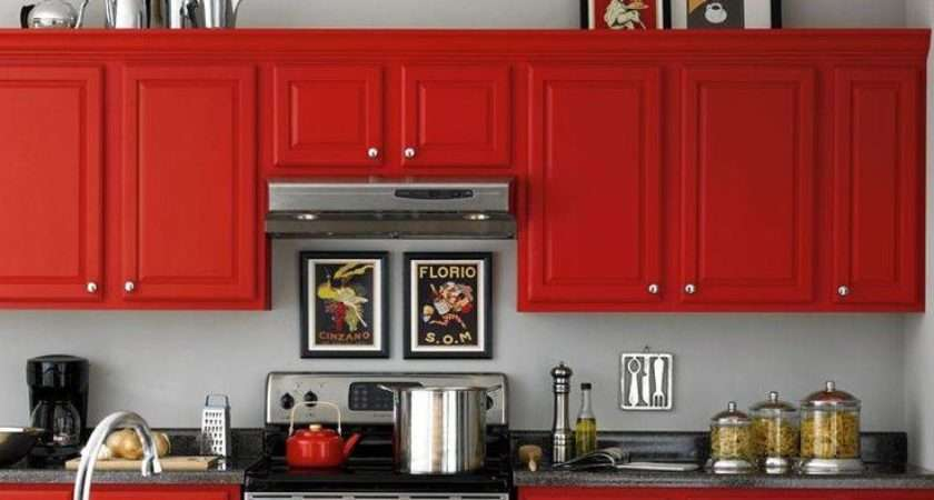 Red Cabinets Gray Walls Kathy Hot Kitchen Pinterest