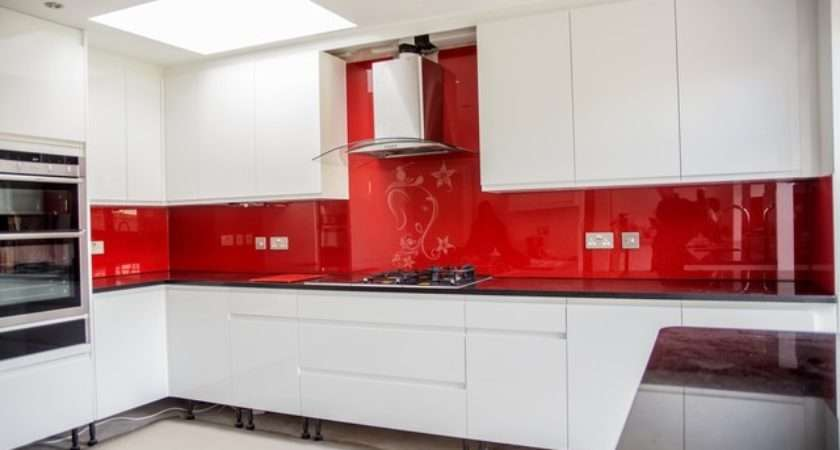 Red Ganesh Glitter Stenciled Glass Kitchen Splashback