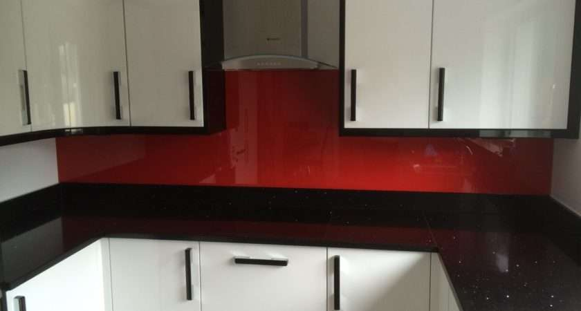 Red Glass Kitchen Splashback Newton Abbot Devon