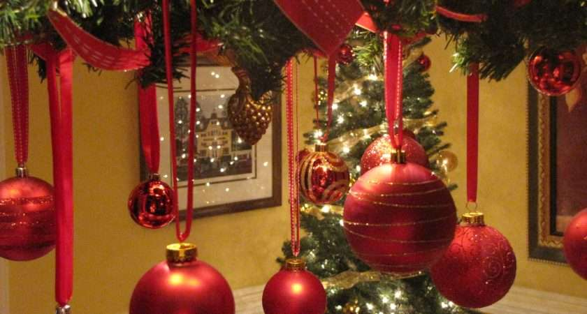 Red Gold Christmas Table Decorations Long