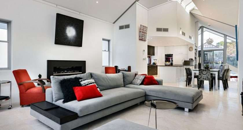 Red Gray Living Rooms Cozy Pleasant