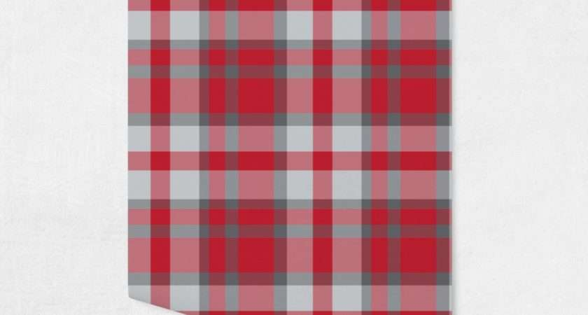 Red Gray Plaid Surface Covering Peel