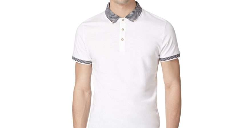 Red Herring Mens White Striped Collar Polo Shirt