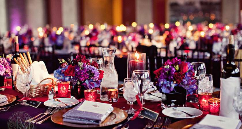 Red Purple Table Setting Gold Accents Black White Place
