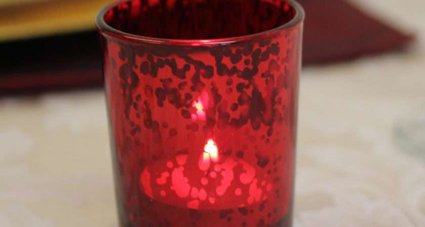 Red Speckle Tea Light Holder