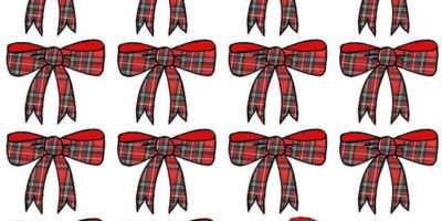 Red Tartan Ribbon Edible Wafer Paper Cup Cake Toppers