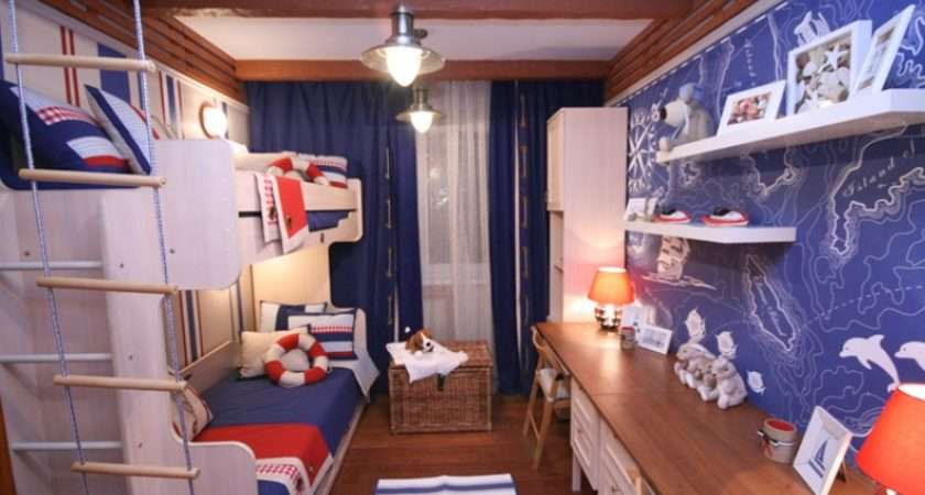 Red White Blue Nautical Themed Boys Room Interior Design Ideas