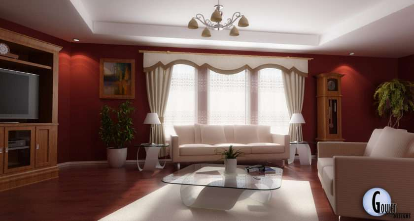 Red White Living Room Design