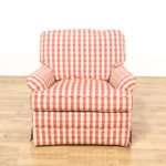 Red White Plaid Gingham Print Armchair Loveseat