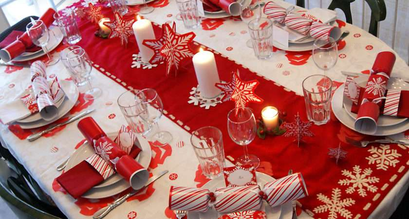 Red White Snowflakes Christmas Table Press Print Party