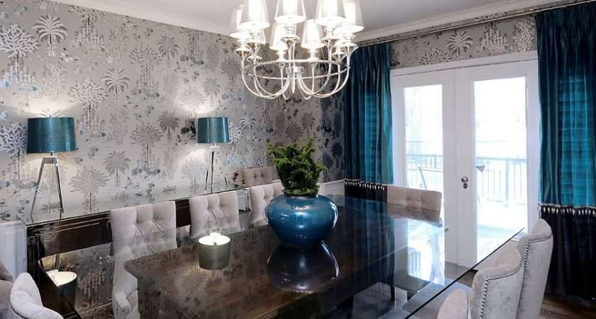 Refined Dining Room Gray Blacks Royal Blue Accents Design