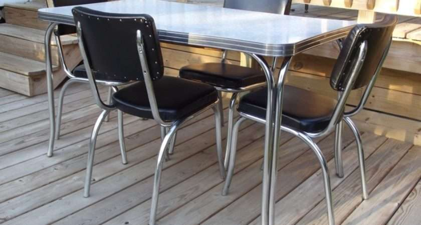 Retro Kuehne Dining Kitchen Formica Chrome Table Chairs