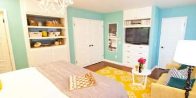 Robin Egg Blue Master Bedroom Yellow Rug Bright