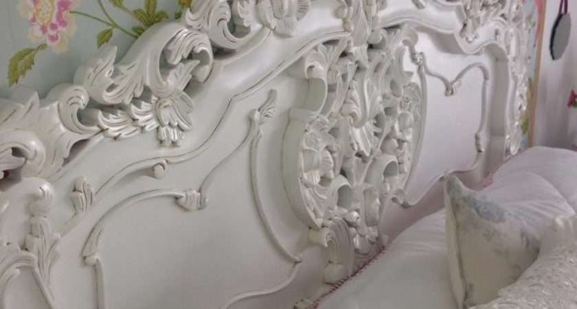 Rococo Antique White French Headboard Crown Furniture
