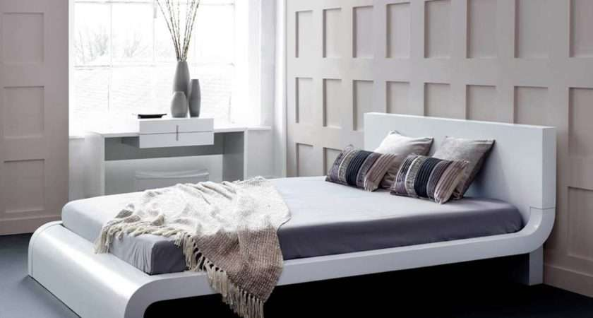 Roma White Modern Bed Platform Contemporary Living