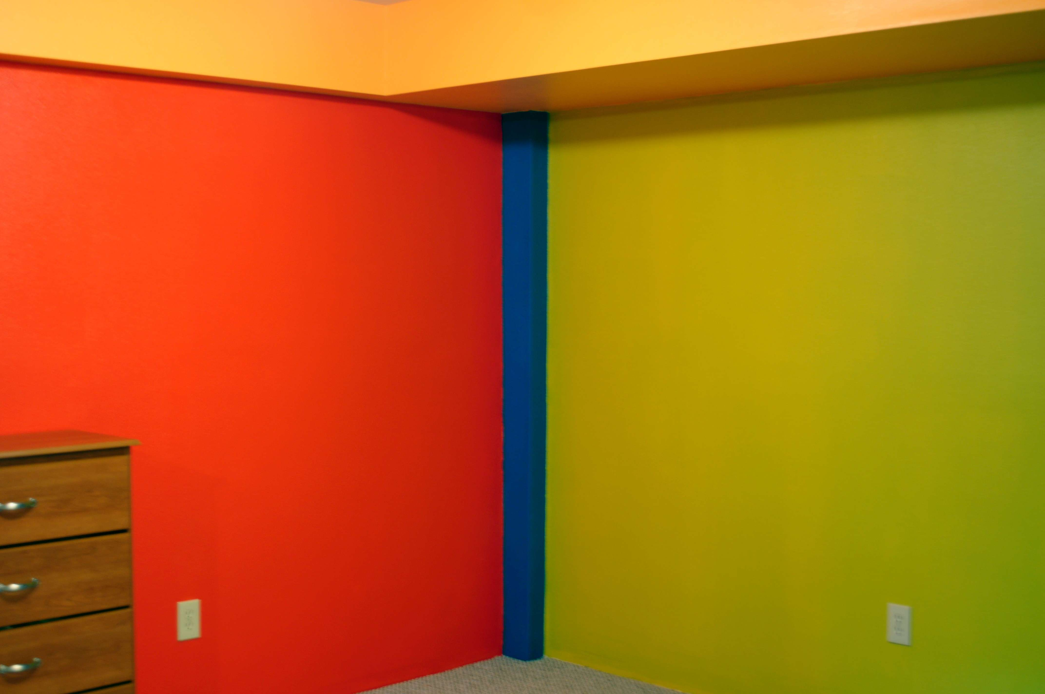 Room Yellow Wall Paint Right Side Red