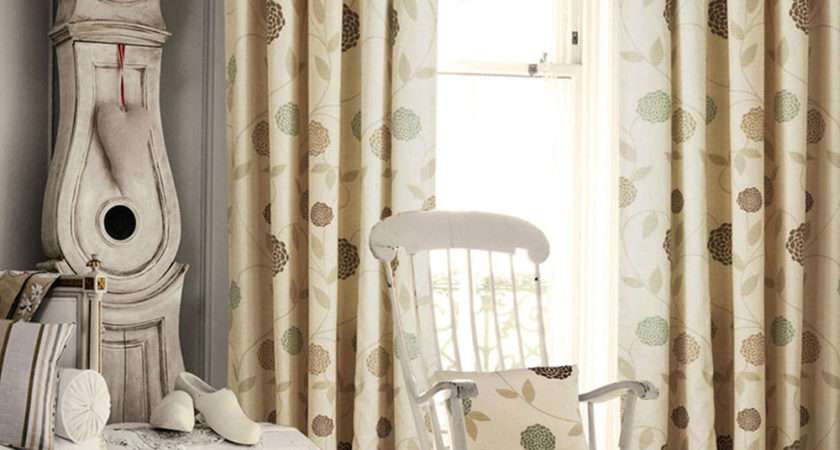 Rosa Pencil Pleat Curtains Natural Cream Lined Curtain