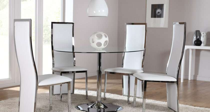Round Glass Chrome Dining Room Table Chairs Set Celeste White