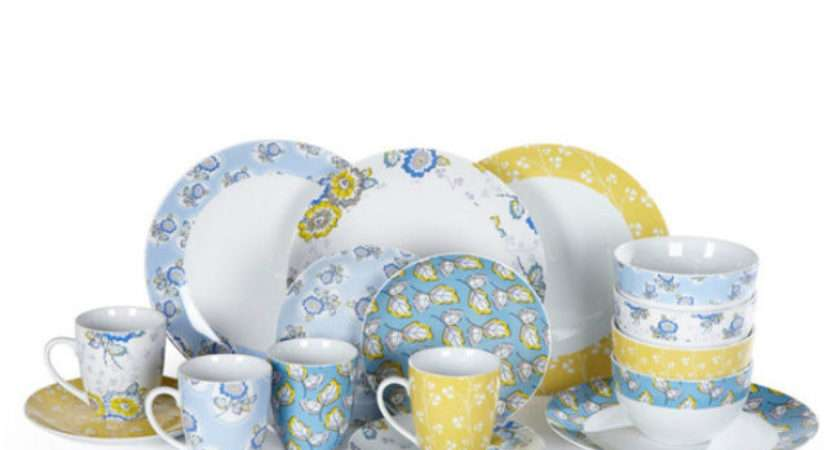 Round White Yellow Blue Duck Egg Porcelain Dinner Service Set Ebay