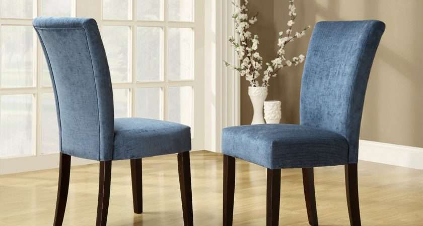 Royal Blue Chenille Parson Chairs Espresso Set Dining