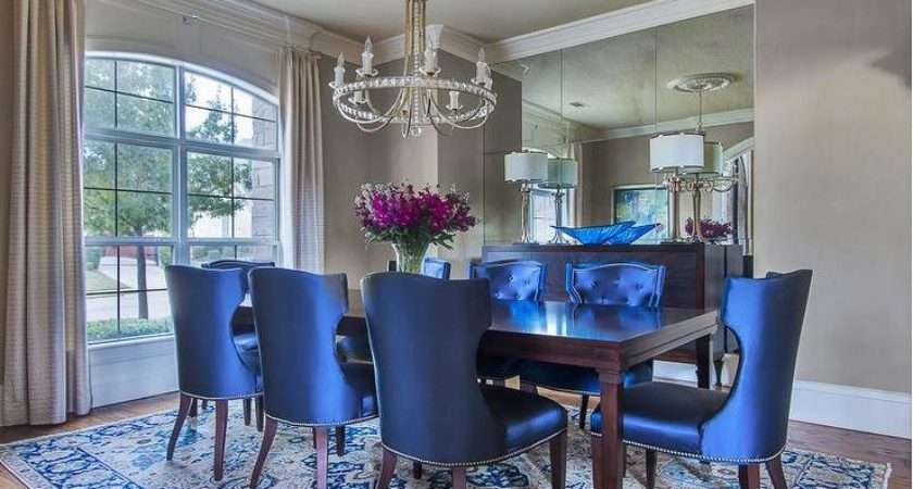 Royal Blue Dining Chairs Traditional Room