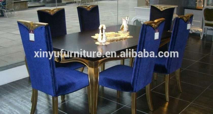 Royal Blue Wooden Dining Room Set Xyn Buy Classic Luxury