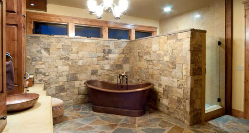Rustic Bathroom Floor Tile Design Ideas Natural
