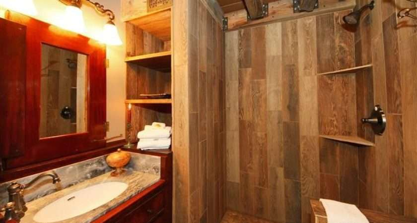 Rustic Bathroom Wood Tiled Shower Antique Dry Sink